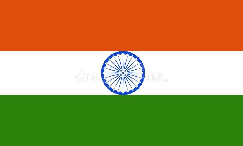 Indisk nationsflaggaindier som är tricolor med Ashok Chakra vektor illustrationer