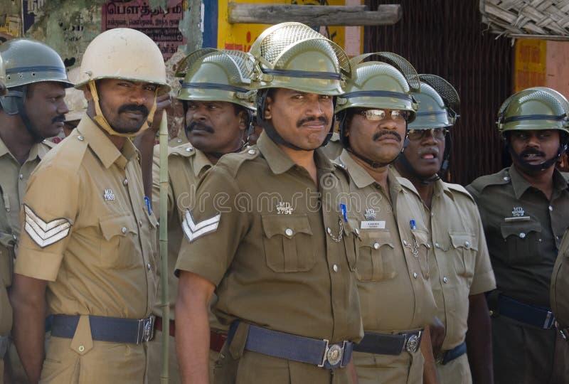 indisk polistumult fotografering för bildbyråer