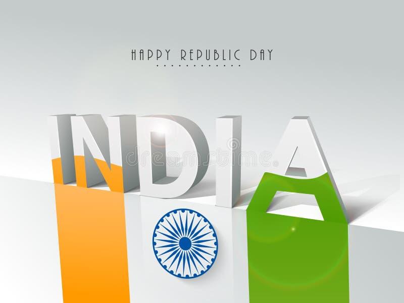 Indisk republikdag med härlig text och flaggan stock illustrationer