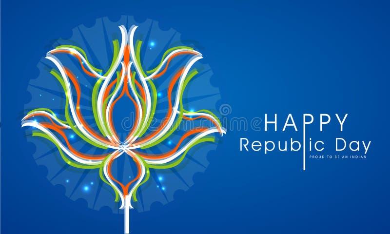 Indisk republikdagberöm med tricolor lotusblomma vektor illustrationer