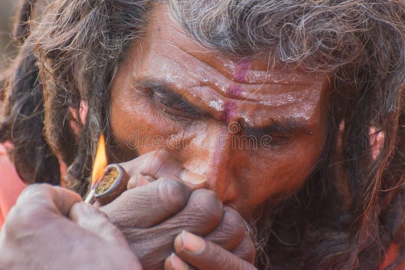 Indisk sadhu som röker Ganja royaltyfri foto