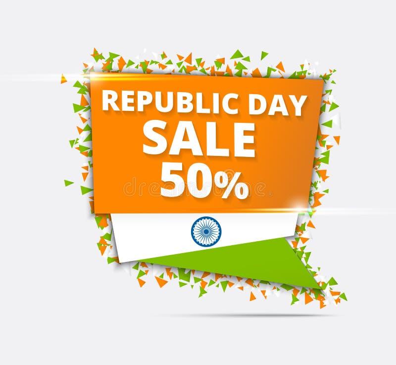 Indisk självständighetsdagen Sale, Tricolor Sale pappersetikett, Sale Pape vektor illustrationer