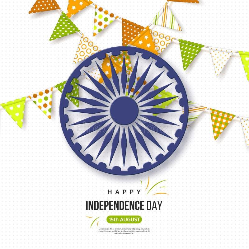 Indisk självständighetsdagenferiebakgrund Bunting sjunker i traditionellt tricolor av den indiska flaggan, hjulet 3d med skugga vektor illustrationer