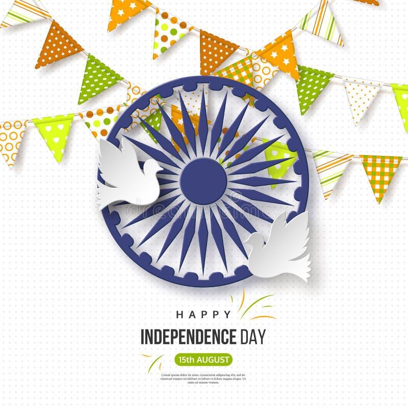 Indisk självständighetsdagenferiebakgrund Bunting sjunker i traditionellt tricolor av den indiska flaggan, hjulet 3d med skugga royaltyfri illustrationer
