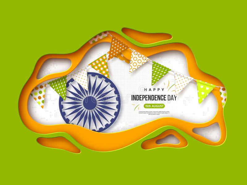 Indisk självständighetsdagenferiebakgrund Papperssnittet formar med skugga, bunting flaggor, hjulet 3d och halvtoneffekt in royaltyfri illustrationer