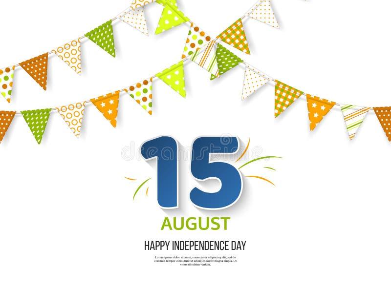Indisk självständighetsdagenferiedesign 3d nummer 15 i blåttfärg med bunting sjunker i traditionellt tricolor av indiern vektor illustrationer