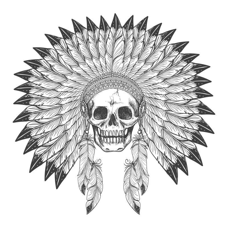 Indisk skalle för indian med huvudbonaden royaltyfri illustrationer