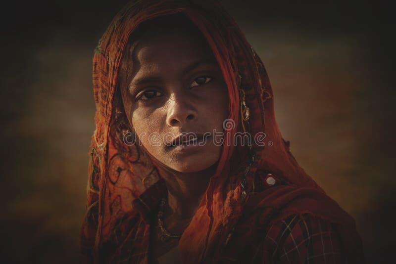 Indisk stam- flicka från Pushkar fotografering för bildbyråer