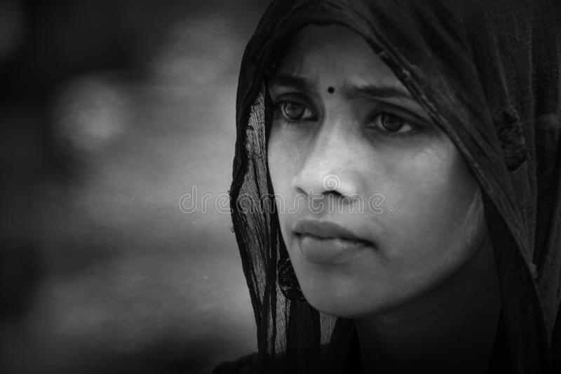 Indisk stam- flicka från Pushkar arkivbild