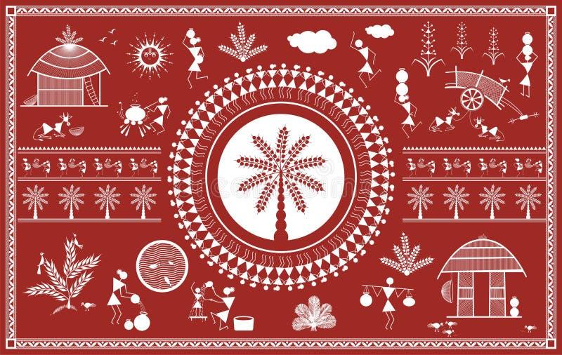 Indisk stam- målning Warli målning vektor illustrationer