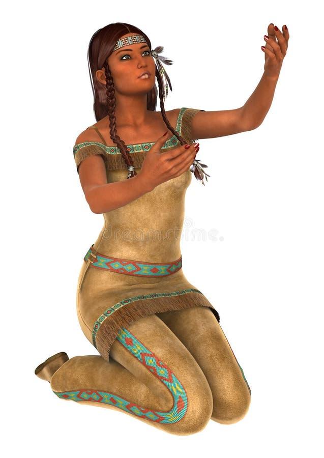 Indisk staty Santa Fe New Mexico royaltyfri illustrationer