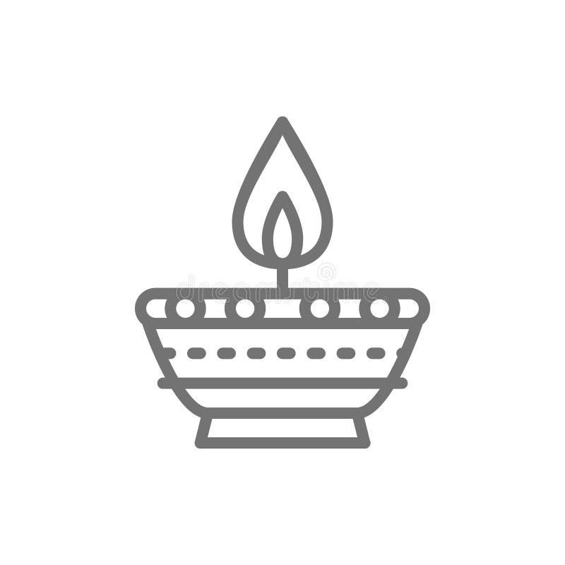 Indisk stearinljus, linje symbol för Diwali Diya oljalampa royaltyfri illustrationer