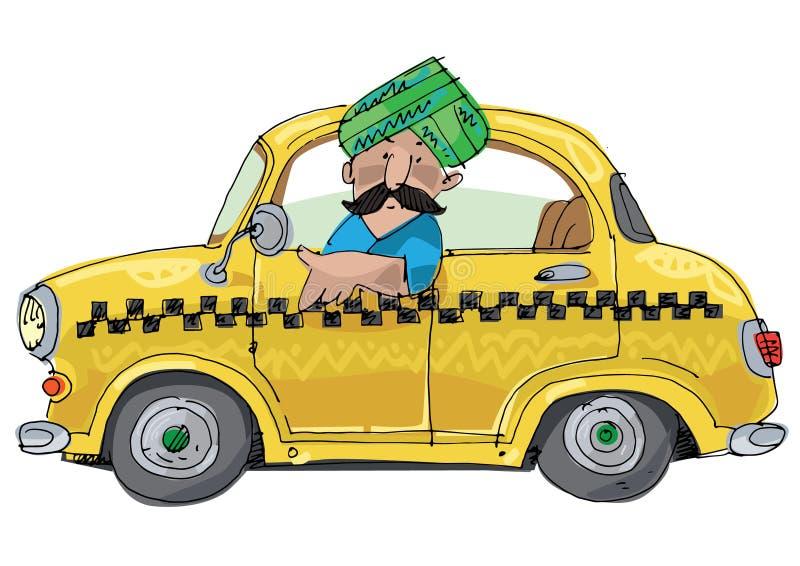 Indisk taxichaufför i turban stock illustrationer