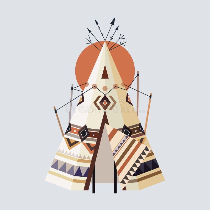 indisk tepee royaltyfri illustrationer