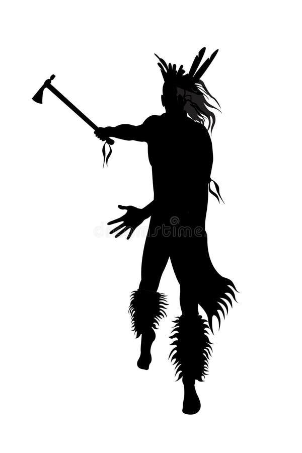 indisk tomahawkkrigare royaltyfri illustrationer