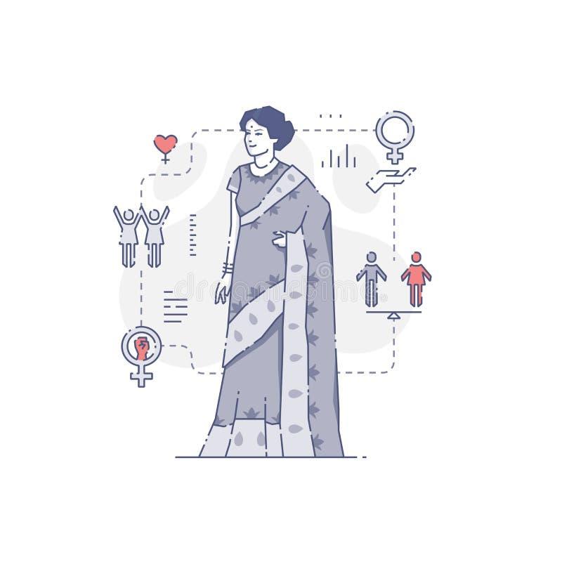 indisk traditionell kvinna för klänning vektor illustrationer