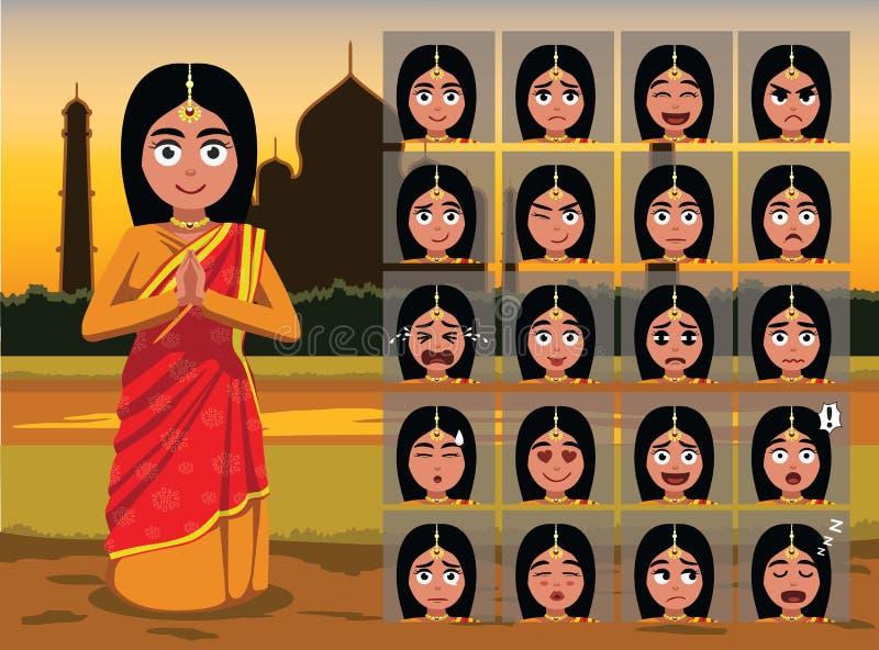 Indisk traditionell kvinnatecknad filmsinnesrörelse vänder mot vektorillustrationen vektor illustrationer