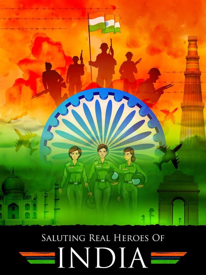 Indisk tricolor bakgrund som saluterar verkliga hjältar av Indien visning beväpnad styrka och kvinnapiloten royaltyfri illustrationer