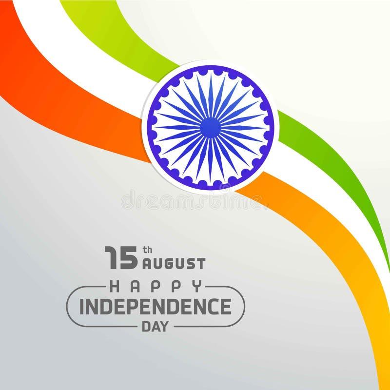 Indisk tricolor flagga med hjulet på vit bakgrundsvisningpeac stock illustrationer