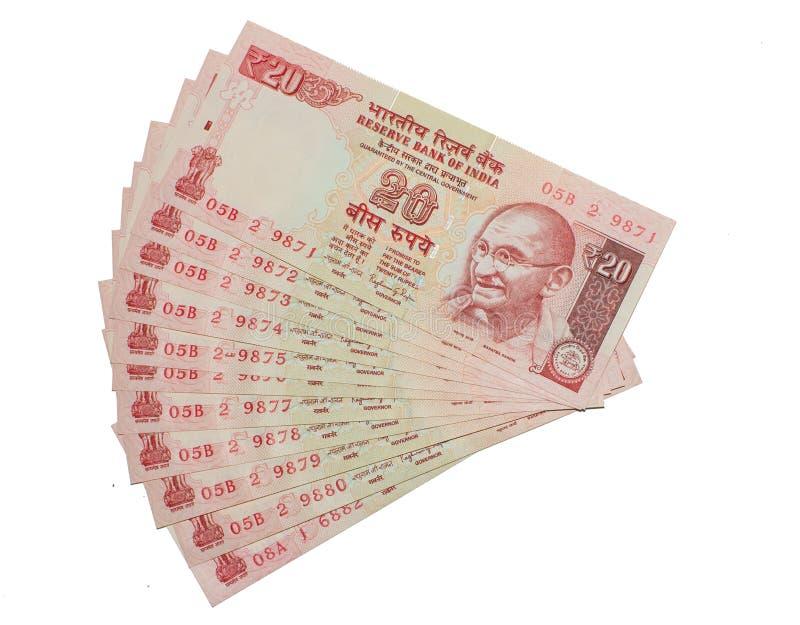 Indisk valutaanmärkning 20 rupier royaltyfria bilder