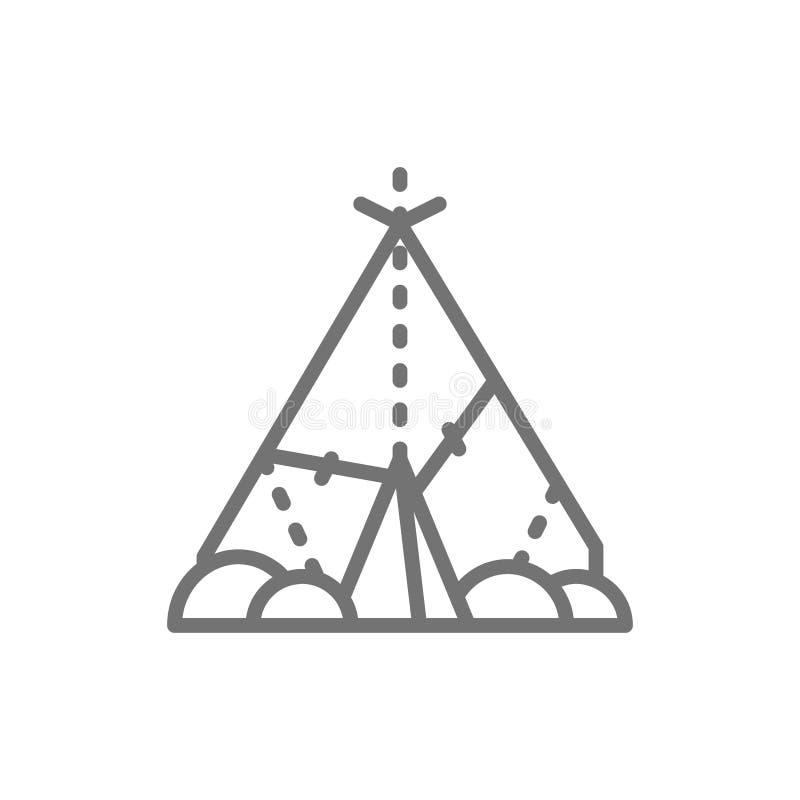 Indisk vigvam, förhistoriskt hus, primitiv hem- linje symbol royaltyfri illustrationer