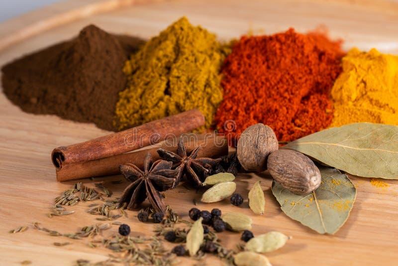 Indiska currykryddor på träplattan royaltyfria bilder