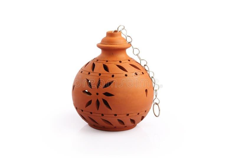 Indiska handgjorda Clay Lamp royaltyfria foton