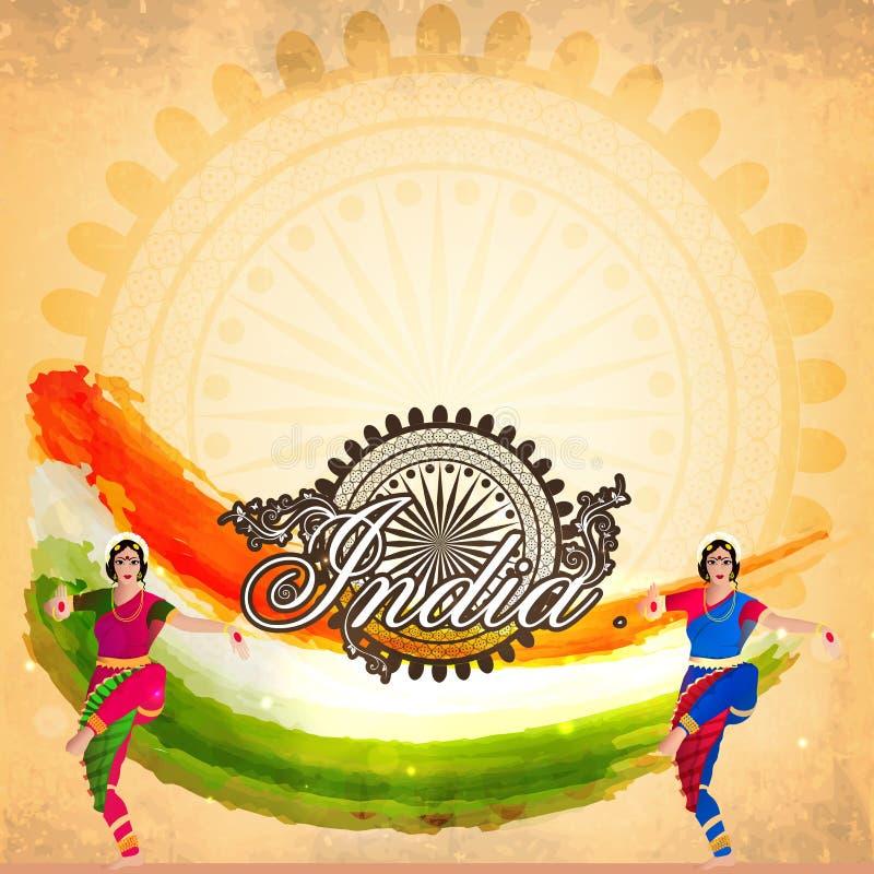 Indiska klassiska dansare för republikdagberöm stock illustrationer