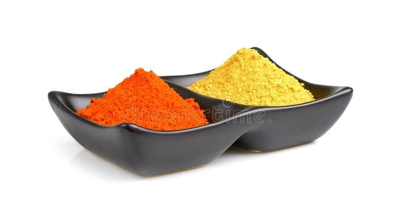 Indiska kryddor, chilipulver i bunke royaltyfri fotografi