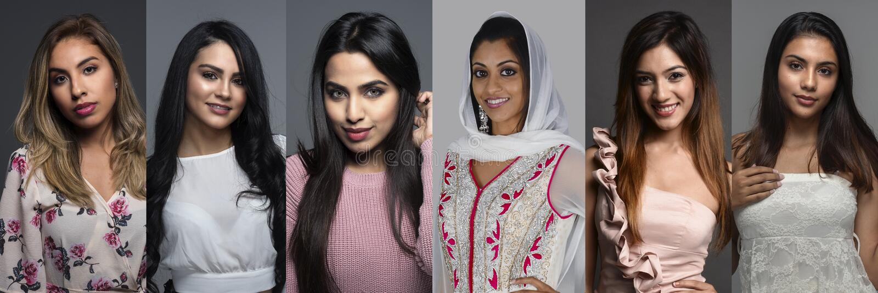 Indiska kvinnor i en grupp royaltyfri foto