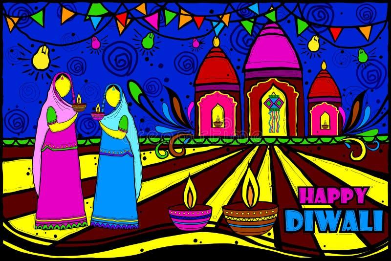 Indiska kvinnor med den Diwali diyaen vektor illustrationer