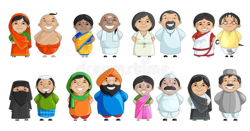 Indiska par av olik kultur royaltyfri illustrationer