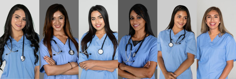 Indiska sjuksköterskor på sjukhuset royaltyfria bilder