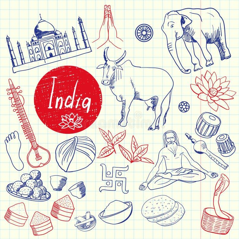 Indiska symboler Pen Drawn Doodles Vector Collection stock illustrationer