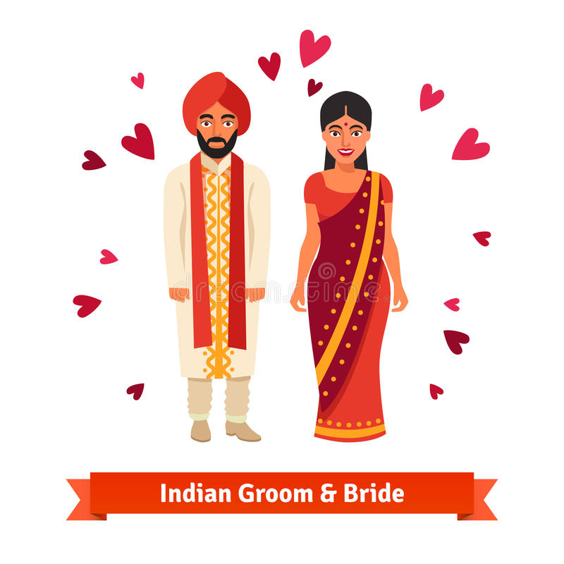 Indiskt bröllop, brud, brudgum i nationella dräkter vektor illustrationer