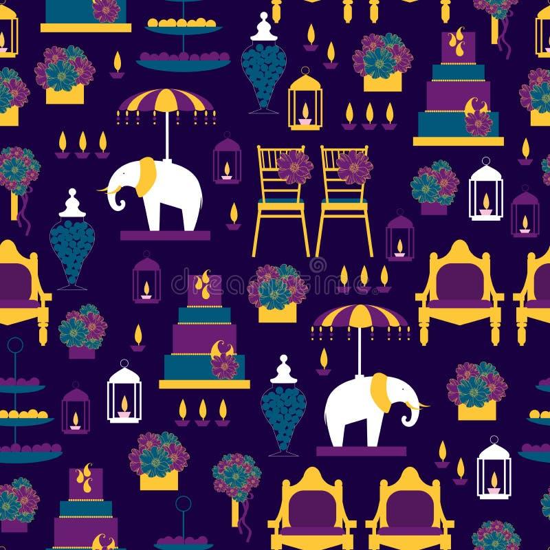 Indiskt bröllop Sömlöst mönster för Vector stock illustrationer