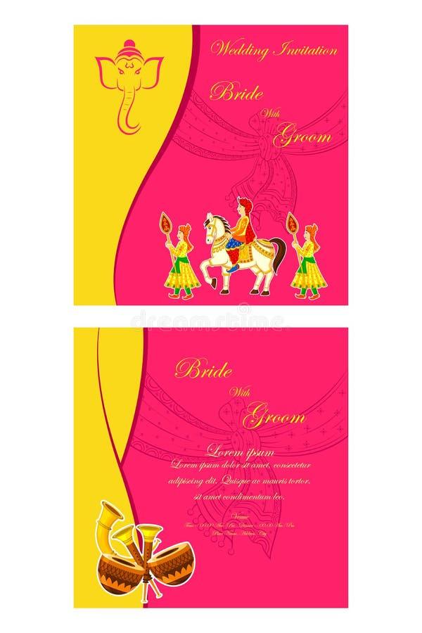 Indiskt bröllopinbjudankort vektor illustrationer