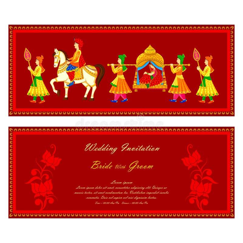 Indiskt bröllopinbjudankort stock illustrationer