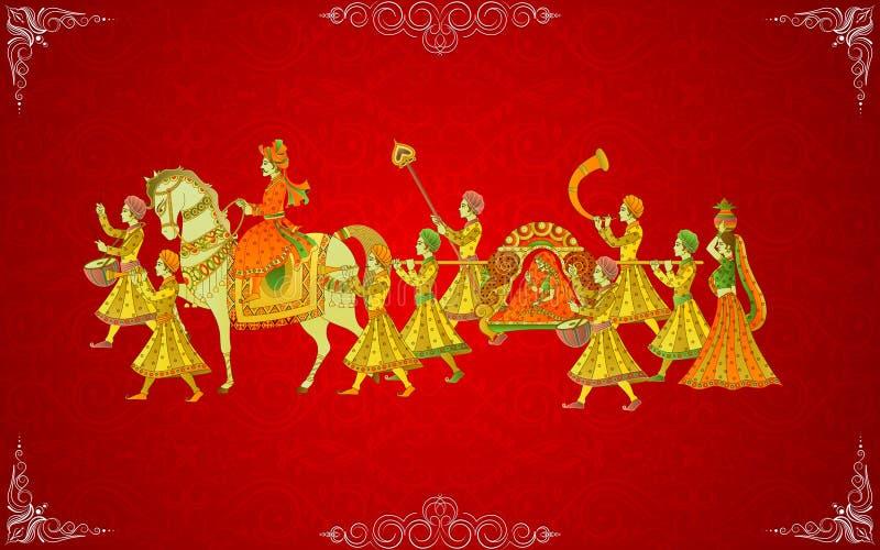 Indiskt bröllopkort stock illustrationer