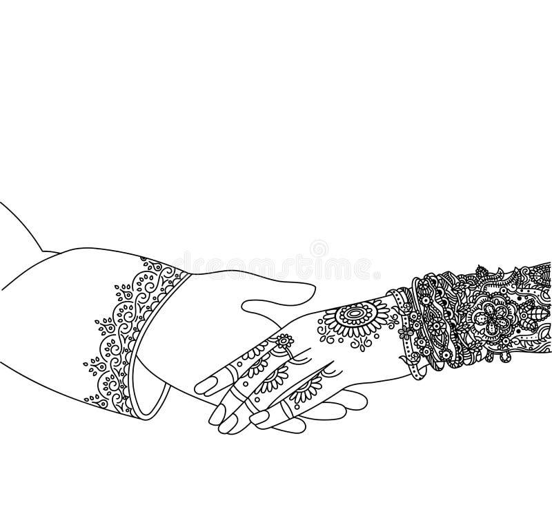 Indiskt inbjudankort för bröllop som isoleras på vit Indien förbindelsemall Beautifully dekorerad indisk brudhand vektor illustrationer