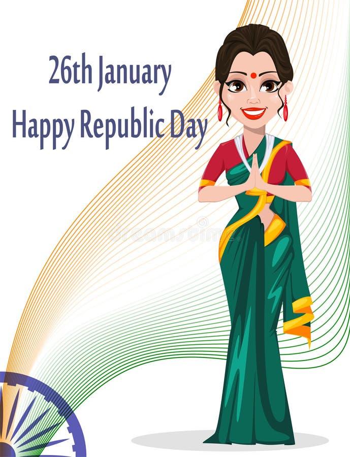 Indiskt kort för republikdaghälsning med den härliga kvinnan vektor illustrationer