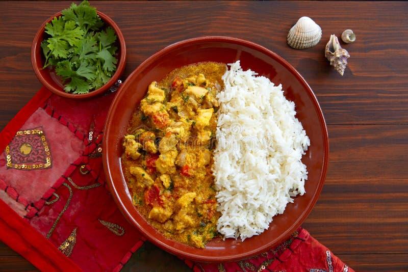 Indiskt recept för feg currymaträtt arkivfoton