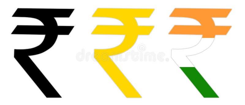 indiskt rupeesymbol stock illustrationer