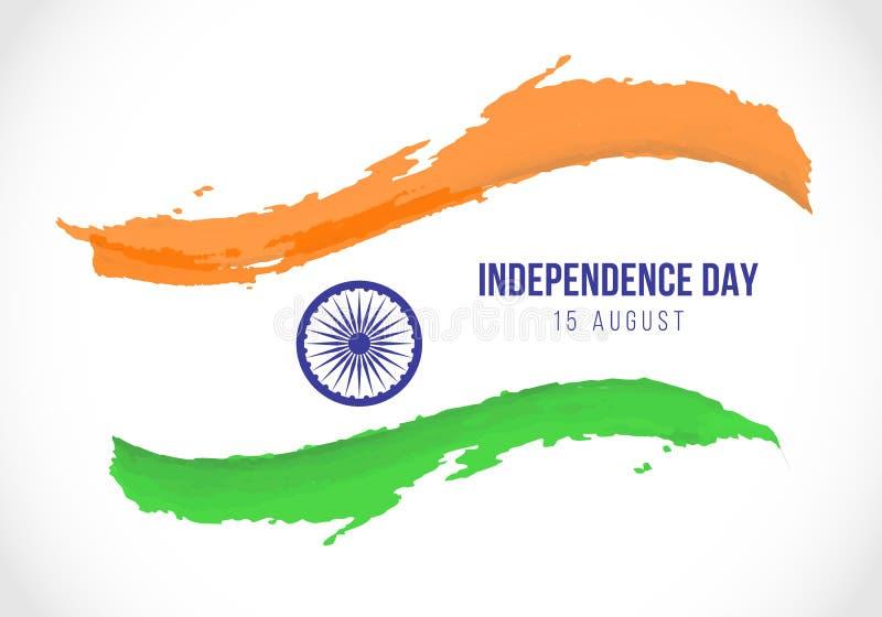 Indiskt självständighetsdagenbaner med abstrakt design för vektor för stil för borste för Indien flaggamålarfärg royaltyfri illustrationer
