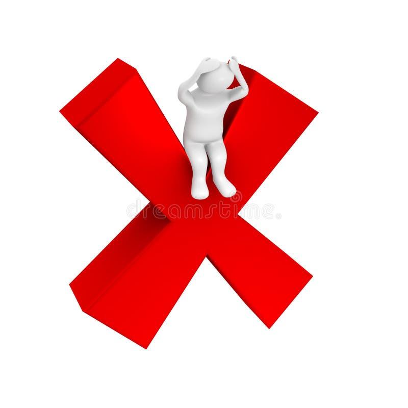 Indivíduo branco e símbolo falhado ilustração stock