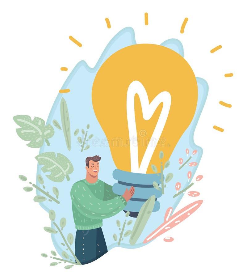 Indivíduo com a lâmpada gigante em suas mãos Conceito novo da idéia ilustração do vetor