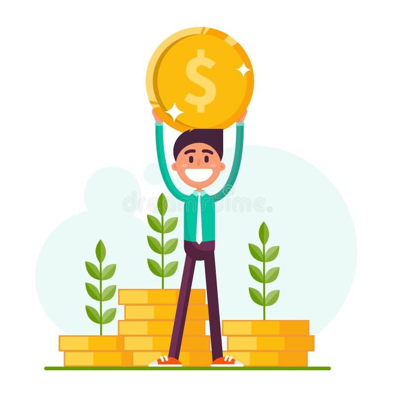 Indivíduo com uma moeda ilustração royalty free