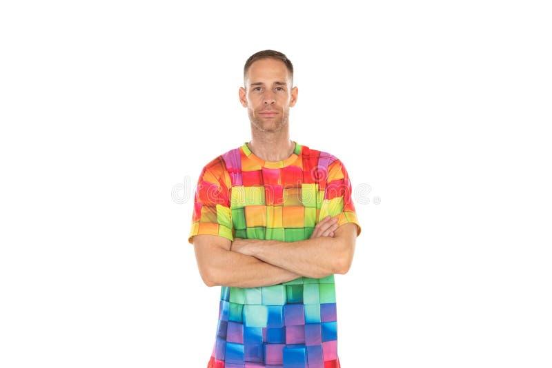 Indivíduo considerável com um tshirt colorido imagem de stock