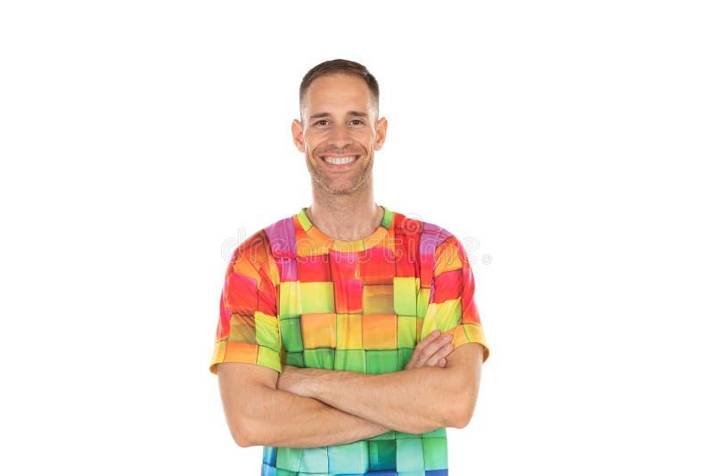 Indivíduo considerável com um tshirt colorido fotografia de stock