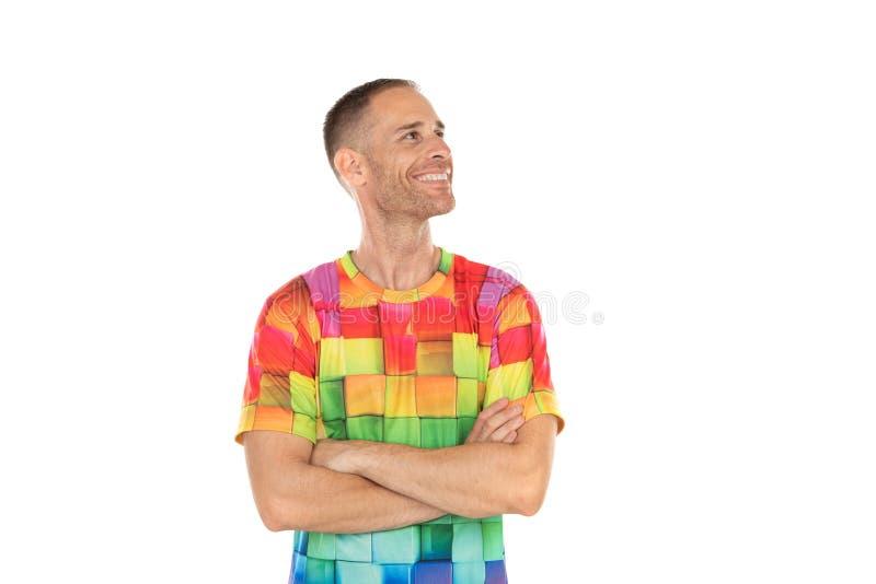 Indivíduo considerável com um tshirt colorido fotos de stock